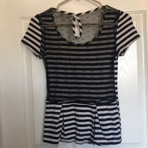 Monteau Tops - Striped flare tee